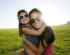 Mom and child with sunglasses